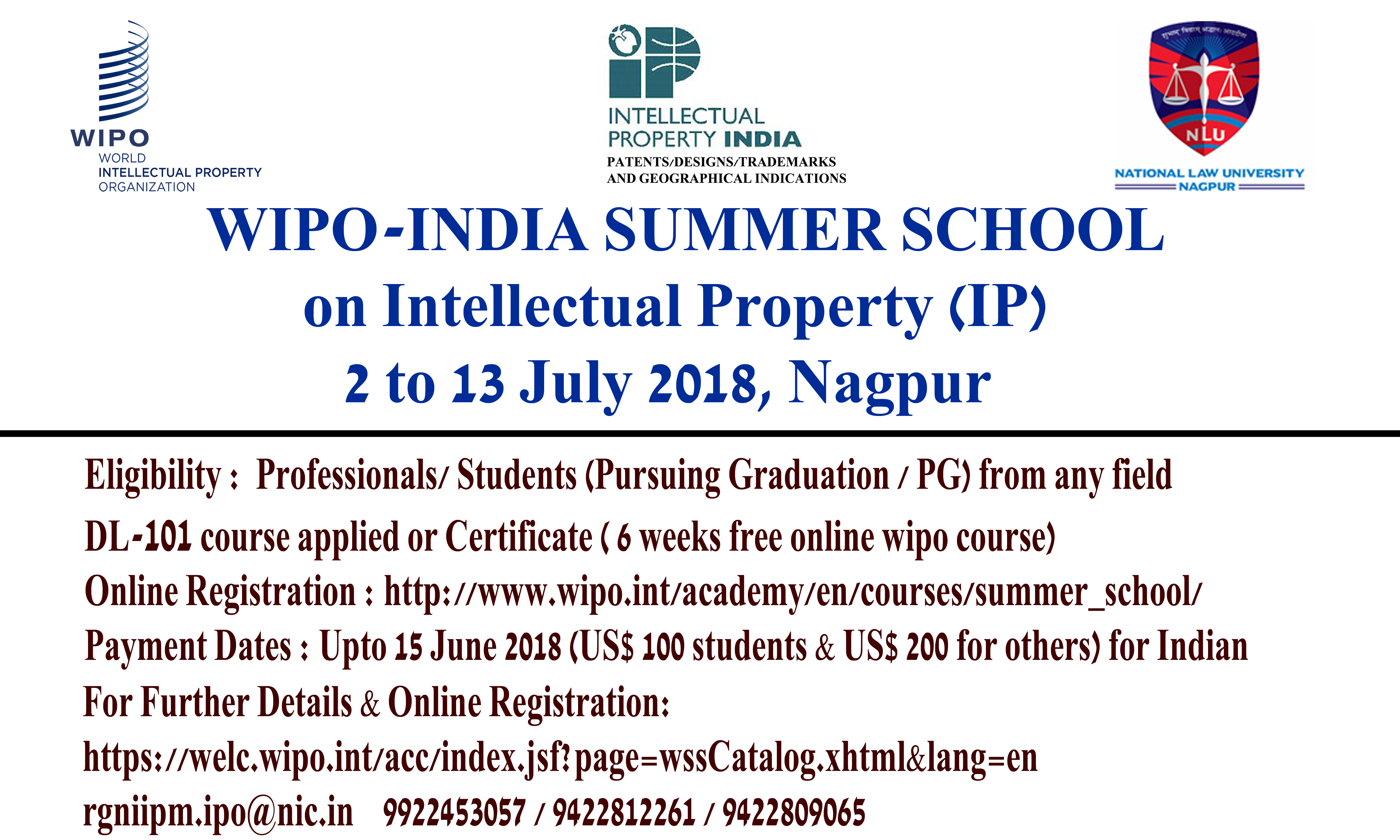 WIPO-India Training(2-13 July 2018)