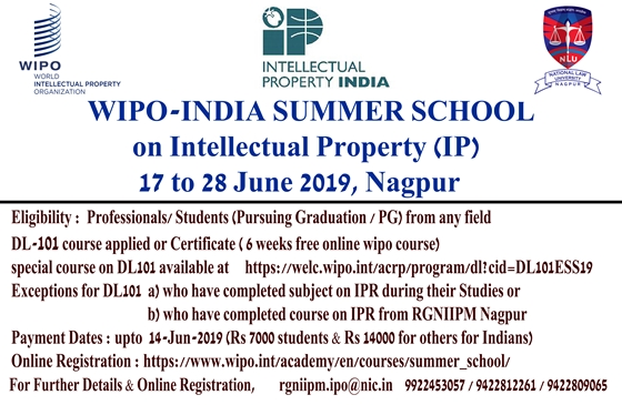 WIPO-India Summer School (17- 28 June 2019)