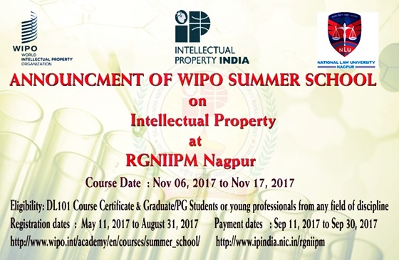 Announcment of WIPO SUMMER SCHOOL on Intellectual Property Right at RGNIIPM Nagpur